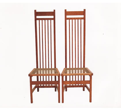 Brown Oak High Backed Side Chairs