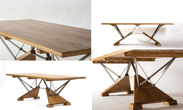 English Oak & Stainless Steel Dining Table